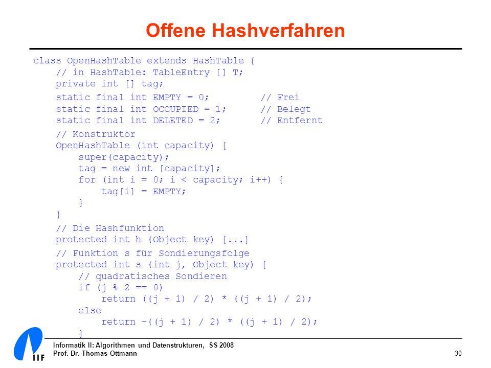 Offene Hashverfahren class OpenHashTable extends HashTable { // in HashTable: TableEntry [] T; private int [] tag;